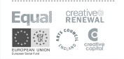 logos: EQUAL, Creative Renewal, Esmee Fairbairn Foundation, Arts Council England, Creative Capital.